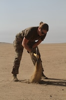 U.S. Army Soldiers with the 741st Ordnance Battalion conduct explosives training in the CENTCOM area of responsibility, June 9, 2020. Soldiers were digging holes in preparation of a live fire training exercise. (U.S. Army photo by Sgt. Andrew Valenza)
