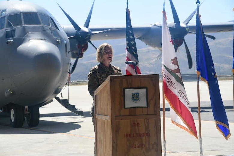 California Air National Guard Col. Lisa Nemeth assumes command of the 146th Airlift Wing at the Channel Islands Air National Guard Station, California. June 13, 2020. U.S. Air National Guard photo by Staff Sgt. Nicole Wright.