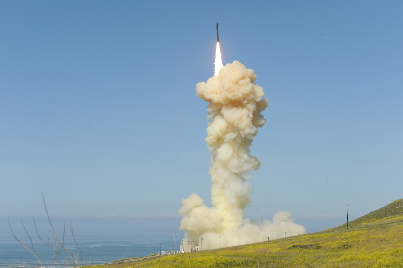 A missile launches.