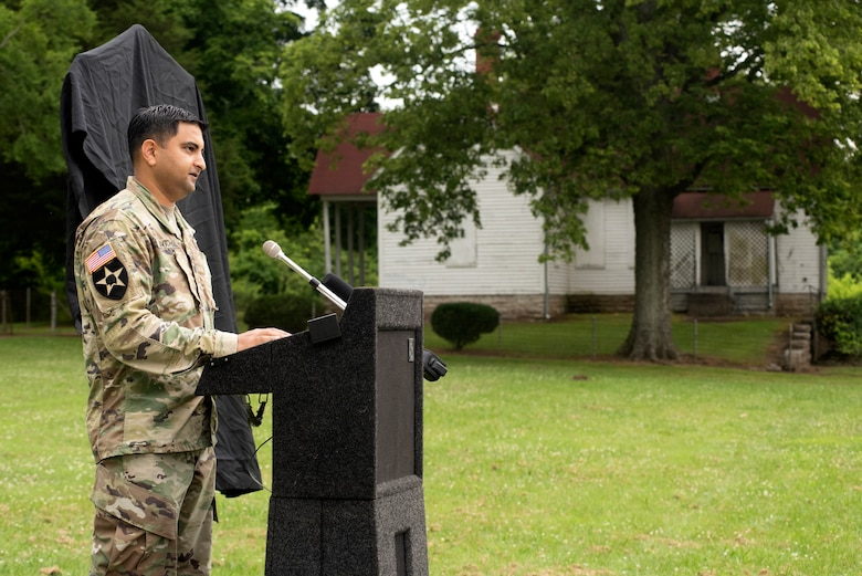 Lt. Col. Sonny Avichal, U.S. Army Corps of Engineers Nashville District commander, addresses guests during the Lock 2 Park Historical Marker dedication June 24, 2020 in Nashville, Tennessee. The U.S. Army Corps of Engineers Nashville District operated the old navigation lock from 1907 to 1956. Remnants of the lock's land wall, a lockmaster's home (in background), and other out buildings remain at Lock 2 Park. (USACE Photo by Lee Roberts)