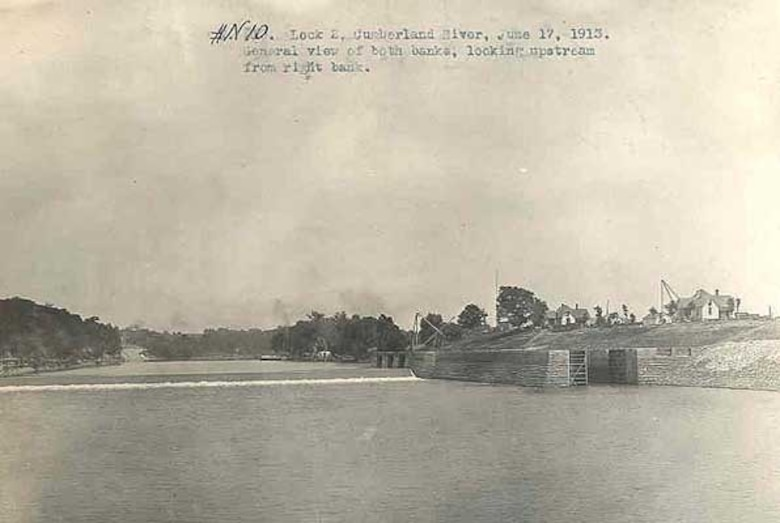 This is Lock 2 on the Cumberland River in Nashville, Tennessee, June 17, 1913. The lock, lower guide wall and lock houses are seen looking upstream. The U.S. Army Corps of Engineers Nashville District built Lock and Dam 2 at this location to establish a navigation channel.  The structure was later replaced by today's modern dams. (USACE Photo)
