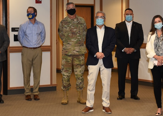 U.S. Air Force Col. Tony England, 17th Mission Support Group commander, wears a face mask while attending a community partnership facility tour at Angelo State University, in San Angelo, Texas, June 23, 2020.  Throughout the course of the day, there was mention of several agreements and understandings that Goodfellow Air Force Base and ASU have, while following COVID-19 precautions such as social distancing and wearing of masks or virtual support, despite the pandemic. (U.S. Air Force photo by Airman 1st Class Abbey Rieves)
