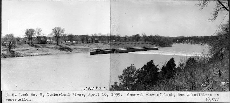 This is a general view of Lock and Dam 2 and buildings on the Cumberland River in Nashville, Tennessee, April 10, 1939. The U.S. Army Corps of Engineers Nashville District built Lock and Dam 2 at this location to establish a navigation channel.  The structure was later replaced by today's modern dams. (USACE Photo)