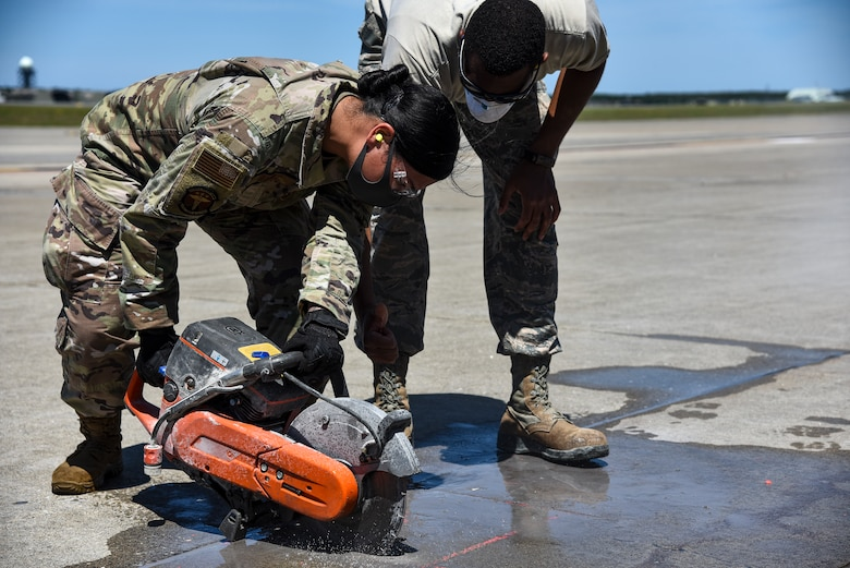 Twenty-four Airmen from nine different squadrons participated in a Multi-Capable Airmen event in support of the Agile Combat Employment concept at Misawa Air Base, Japan, June 12, 2020. The MCAs completed airfield inspections and four expedient spall repairs on the flightline.