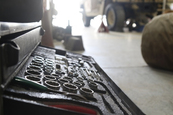 Tools used by mechanics to work on vehicles on June 23, 2020 in Kuwait. Tools like these are used daily to work on and maintain vehicles by mechanics assigned to Task Force Spartan. (U.S. Army photo by Sgt. Andrew Winchell)