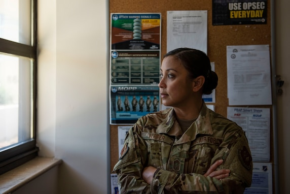 U.S. Air Force Chief Master Sgt. Maribeth Ferrer, 39th Medical Group Superintendent, stares out the window of her office June 22, 2020, at Incirlik Air Base, Turkey. Ferrer has been selected to serve as the 39th Air Base Wing's next command chief. (U.S. Air Force photo by Staff Sgt. Joshua Magbanua)