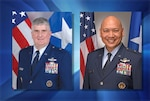 Defense Logistics Agency Energy bid farewell to Air Force Brig. Gen. Albert Miller, left, and welcomed the incoming commander, Air Force Brig. Gen. Jimmy Canlas, during a virtual Change of Command ceremony June 23. Graphic by DLA Energy Public Affairs.