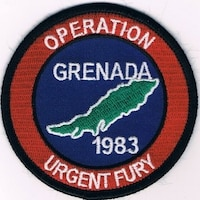 This is the 1983 Operation URGENT FURY patch provided to U.S. Air Force police stationed in Grenada. (Courtesy USAF Police Alumni Association)
