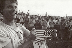 On October 25, 1983, American students celebrated after their rescue by U.S. forces in Grenada. (Courtesy Army University Press)