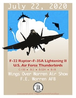 The Wings Over Warren Air Show flyer, created June 24, 2020, at F.E Warren Air Force Base, Wyo., to inform the public of the upcoming airshow. (U.S. Air Force graphic by Senior Airman Abbigayle Williams)