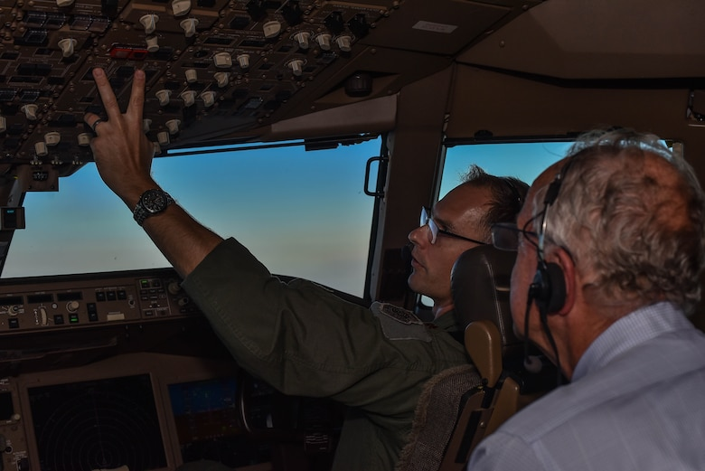 Senator Jerry Moran, right, observed Maj Jordan Kemp, 18th Air Refueling Squadron, Aircrew Training Detachment Director of Operations, during a flight on a KC-46A Pegasus June 10, 2020, at McConnell Air Force Base, Kansas. Kemp showed Moran and Congressman Ron Estes the aircraft's aerial refueling functionality during a local sortie with another KC-46, carrying Secretary of the Air Force, Barbara Barrett. (U.S. Air Force photo by Airman 1st Class Marc A. Garcia)