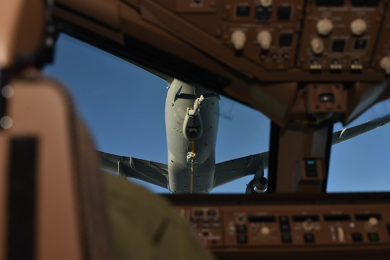 A KC-46A was refueled by another KC-46A on June 10, 2020, at McConnell Air Force Base, Kansas. The Aircrafts were carrying Secretary of the Air Force Barbara Barrett, Senator Jerry Moran, and Congressman Ron Estes as Team McConnell Aircrews demonstrated the new aircraft's aerial refueling functionality. (U.S. Air Force photo by Airman 1st Class Marc A. Garcia)