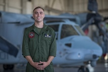 U.S. Marines Corps Cpl Reid Ellis Jr, a MV-22 tiltrotor mechanic with Marine Operational Test and Evaluation Squadron (VMX) 1, poses for imagery on Marine Corps Air Station (MCAS) Yuma, June 18, 2020. VMX-1 is an operational test squadron that tests multiple aircraft, allowing the continuation of improving the safety, reliability, and lethality of Marine Corps aircraft. (U.S. Marine Corps photo by Lance Cpl John Hall)