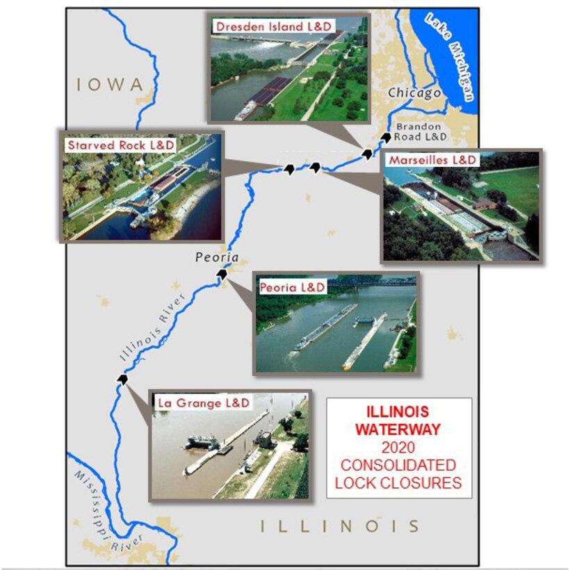 2020 Illinois Waterway Lock Closures Map