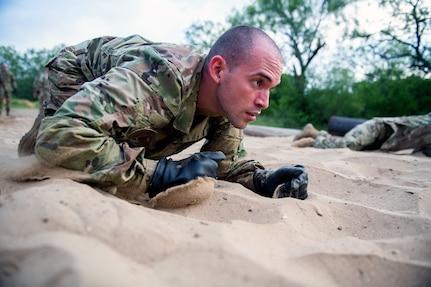 U.S. Air Force basic training trainee Jose Vasquez-Vera goes through the Leadership Reaction Course