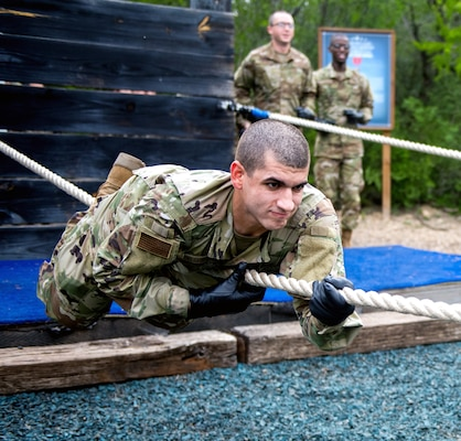 U.S. Air Force basic training trainee Alexie Delgado Berrios goes through the Leadership Reaction Course