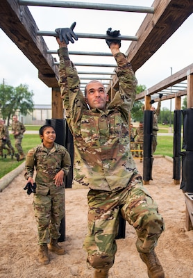 U.S. Air Force basic training trainee Jose Vasquez-Vera goes through the Leadership Reaction Course