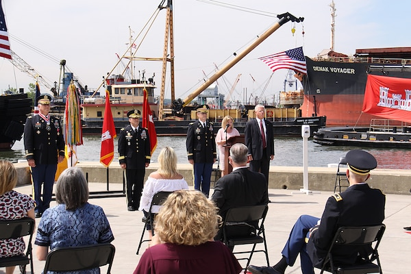Change of Command ceremony on the pier of the Corps' N.J. Caven Point Marine Terminal.
