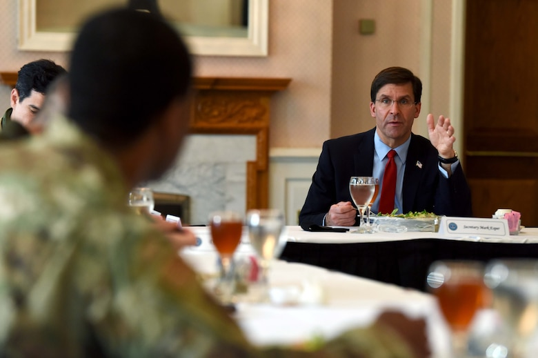 U.S. Secretary of Defense Dr. Mark T. Esper speaks during a lunch with Airmen at RAF Mildenhall, England, June 25, 2020. Esper met with 100th ARW, 352nd Special Operations Wing, Royal Air Force and tenant unit leadership to learn of the various mission sets and discuss the base's role in operations in both the European and African theaters. (U.S. Air Force photo by Senior Airman Brandon Esau)