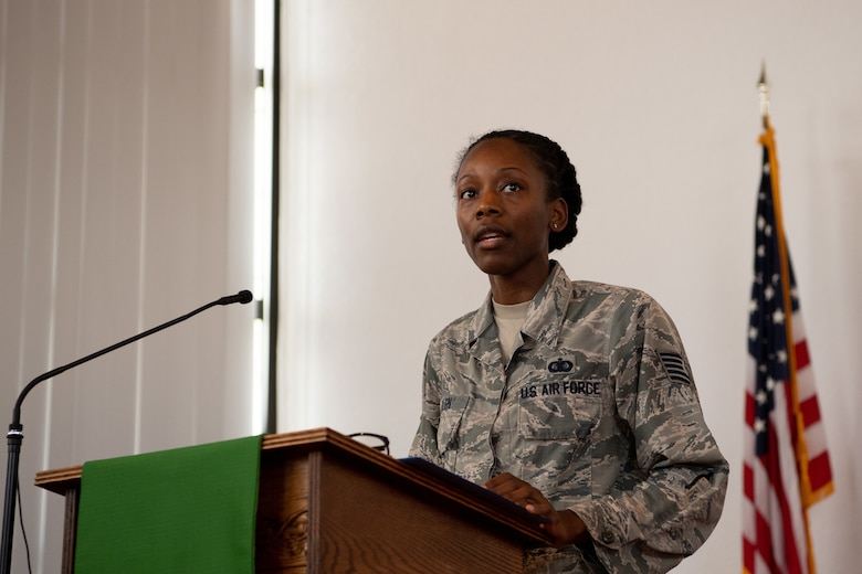 U.S. Air Force Tech Sgt. Marquita Allen, U.S. Air Forces in Europe and Air Forces Africa commander enlisted executive, gives a speech at the Juneteenth: Vigil for Healing event at Ramstein Air Base, Germany, June 19, 2020.