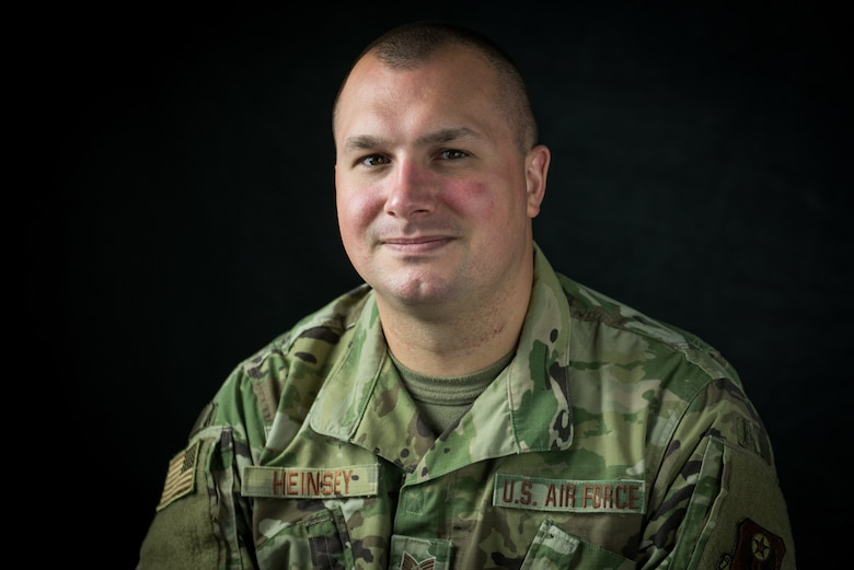 U.S. Air Force Tech. Sgt. John Heinsey, the intelligence superintendent with the 193rd Special Operations Support Squadron, Pennsylvania Air National Guard, poses for a photo, June 5, 2020 at the 193rd Special Operations Wing in Middletown, Pennsylvania. Heinsey has 10 years of military service between his time on active-duty Air Force and the Air National Guard. (U.S. Air National Guard photo by Staff Sgt. Tony Harp)