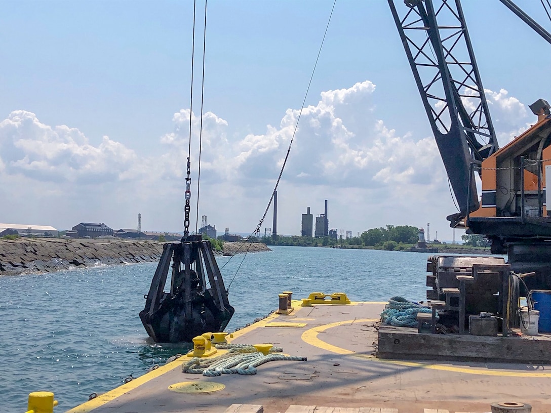 The U.S. Army Corps of Engineers Buffalo District makes repairs to damaged areas of critical need on the Buffalo south breakwater located in the Buffalo Harbor, Buffalo, NY, July 26, 2019.