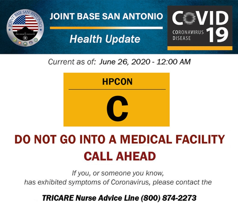 To better posture Joint Base San Antonio and help reduce community spread of COVID-19, the JBSA commander is increasing the Health Protection Condition to Charlie, or HPCON C effective June 26.