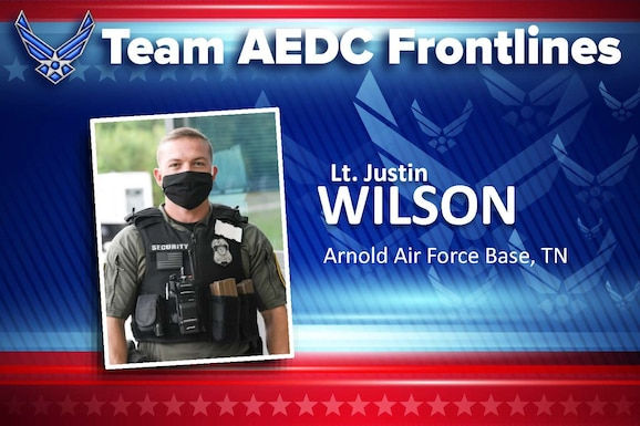 Lt. Justin Wilson (U.S. Air Force graphic) (This image was altered by obscuring a badge for security purposes)