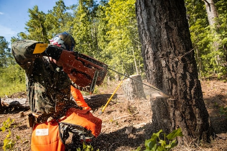 U.S. Marine Corps 1st Lt. Christian Forbes, a Columbia, South Carolina native and tank officer with 2d Tank Battalion, 2d Marine Division (MARDIV), sharpens a chainsaw during a chainsaw training event at Camp Johnson, North Carolina, June 24, 2020. During the training, Marines from various units throughout 2d MARDIV learned essential tree felling skills in preparation for potential natural disaster relief. (U.S. Marine Corps photo by Lance Cpl. Patrick King)