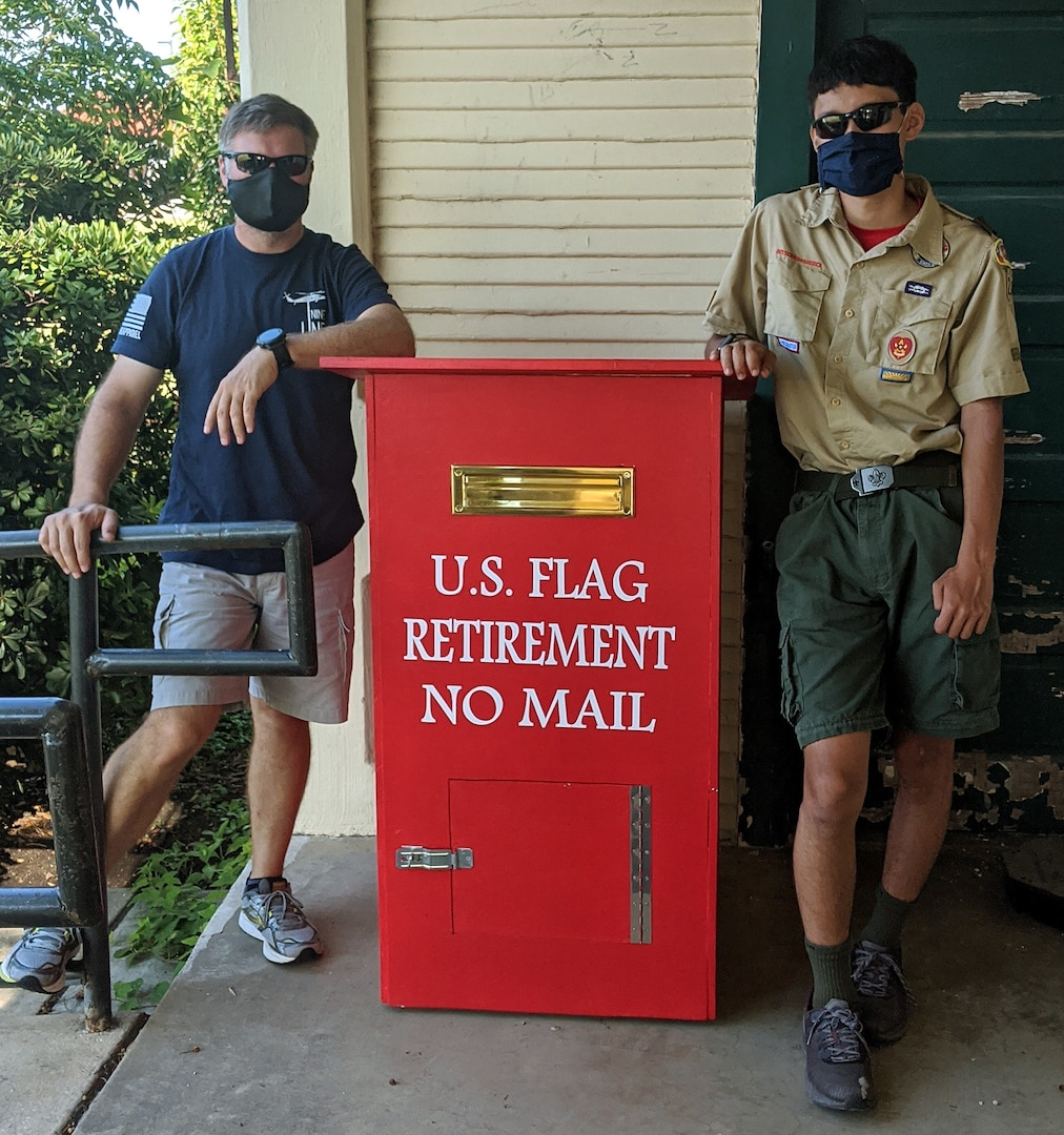 Boy Scouts from Joint Base San Antonio-Fort Sam Houston's Troop 23 helped to complete an Eagle Scout project, which involved the construction of two U.S. flag collection boxes.