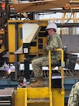 Cmdr. Chris Schindler, Officer In Charge, Supervisor of Shipbuilding Bath (det. San Diego) commences construction of the fourth Expeditionary Sea Base (ESB 6) at General Dynamics National Steel and Shipbuilding Company shipyard, June 25. Due to the COVID-19 pandemic, the milestone was marked with an informal shipyard ceremony