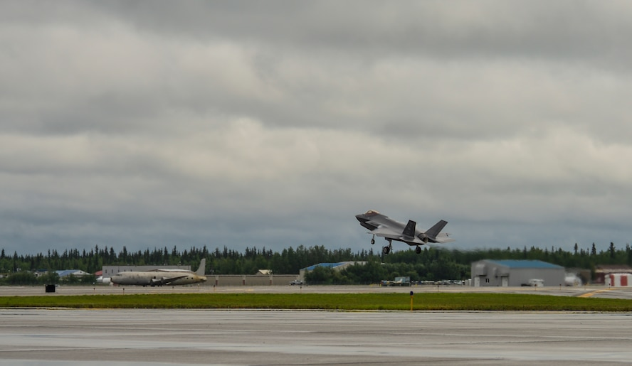 A U.S. Air Force F-35A Lightning II assigned to the 356th Fighter Squadron lands on the Fairbanks International Airport runway at Fairbanks, Alaska, June 24, 2020.