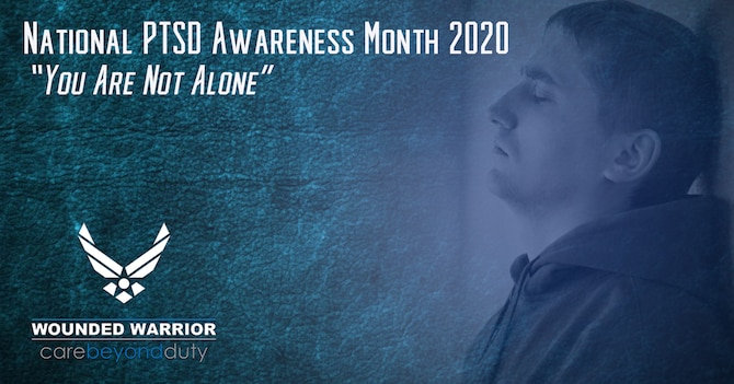 June is National PTSD Awareness Month, a time to learn and understand the signs and symptoms of Post-Traumatic Stress Disorder. (U.S. Air Force Graphic by Shawn Sprayberry)