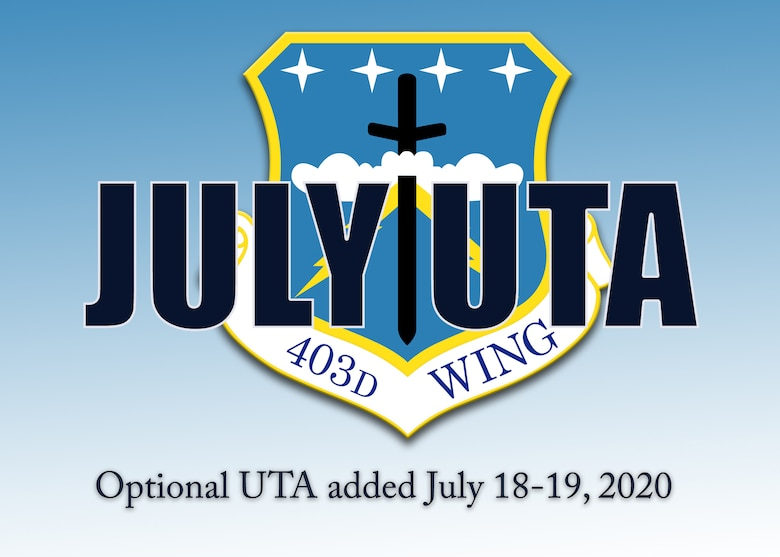 The 403rd Wing, an Air Force Reserve unit at Keesler Air Force Base, Mississippi, is having a Unit Training Assembly July 18-19, 2020, to provide an opportunity for Airmen to come to the base to conduct required training. (U.S. Air Force graphic by Lt. Col. Marnee A.C. Losurdo)
