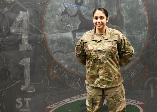 Airman 1st Class Chellsea Thompson, 41st Airlift Squadron aviation resource management, is recognized as the Combat Airlifter of the Week at Little Rock Air Force Base.