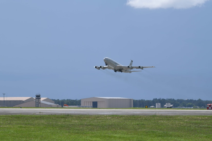 Photo shows an aircraft taking off