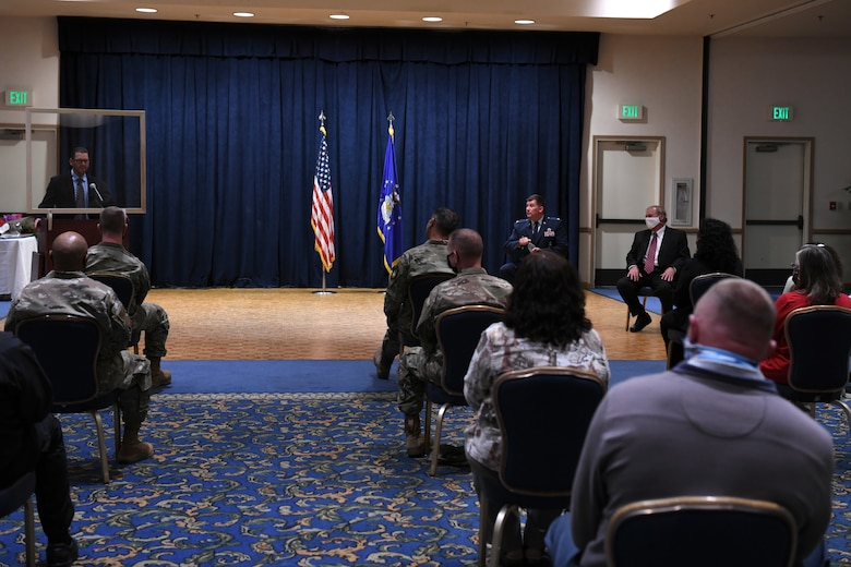 Family, friends and base members attend the retirement ceremony of Richard Cote, 30th Civil Engineer Squadron deputy commander, June 25, 2020, at Vandenberg Air Force Base, Calif.