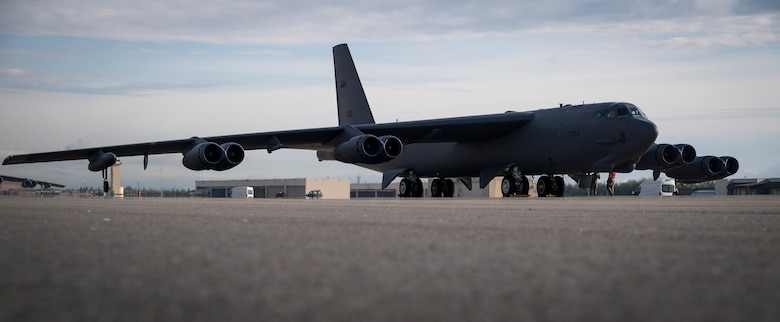 A B-52H Stratofortress deployed from Barksdale Air Force Base, La., prepares for take off from Eielson Air Force Base, Alaska, for a Bomber Task Force mission, June 16, 2020.