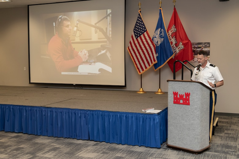 U.S. Army Corps of Engineers (USACE) Vicksburg District Commander Col. Robert Hilliard announces the inaugural Gregory C. Raimondo Public Affairs Award during the district's Engineer's Day Award Ceremony June 25, 2020. Raimondo, the district's former public affairs chief, died in 2018.