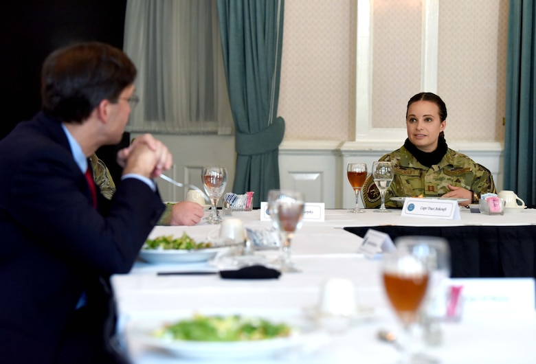Captain Traci Ashcraft, 100th Mission Support Group executive officer, speaks with U.S. Secretary of Defense Dr. Mark T. Esper during a visit to RAF Mildenhall, England, June 25, 2020. Esper toured the air traffic control tower, static displays of a CV-22 Osprey, RC-135 Rivet Joint and spent time speaking with both officer and enlisted Airmen during his tour. (U.S. Air Force photo by Senior Airman Brandon Esau)