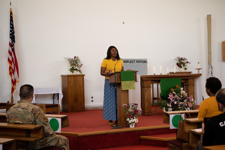 U.S. Army Staff Sgt. Melissa Lampley, 569th Human Resources Company, 16th Sustainment Brigade postal platoon sergeant, speaks during the Juneteenth: Vigil for Healing event at Ramstein Air Base, Germany, June 19, 2020.