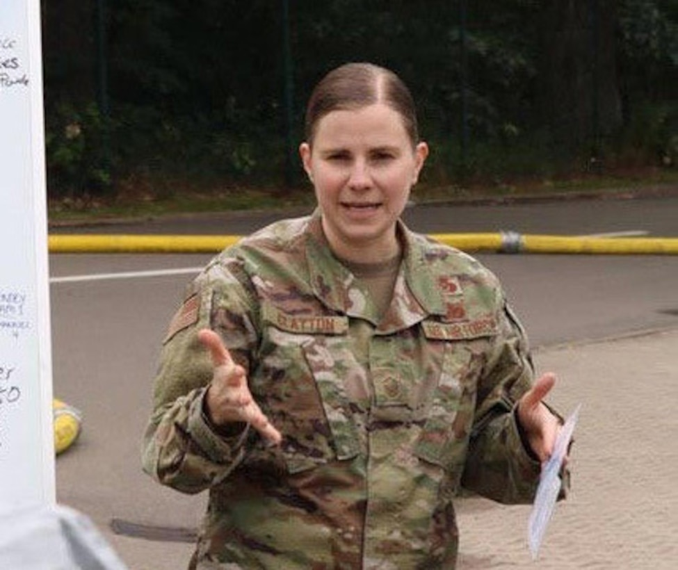 U.S. Air Force Master Sgt. Jessica Clayton, 786th Civil Engineer Squadron Emergency Management Operations noncommissioned officer in charge, gives a safety and team objective brief to responders at Landstuhl Regional Medical Center, Germany, June 16, 2020.