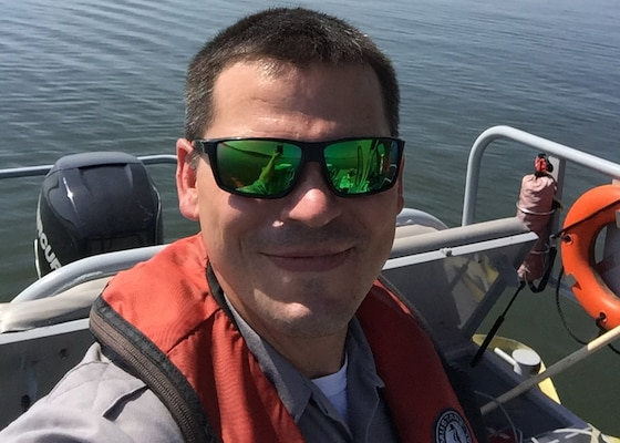 Shane Brady uses a Trimble Geographic Information System (GIS) 150 device to collect spatial and geographic data on public trails for the U.S. Army Corps of Engineers, Nashville District.
