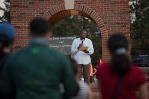 U.S. Air Force Chaplain speaks to crowd
