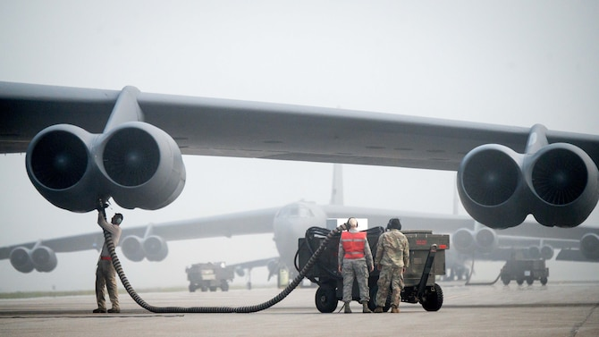Airmen from the 96th Aircraft Maintenance Squadron, prepare a B-52H Stratofortress prior to take off at Eielson Air Force Base, Alaska, during a Bomber Task Force mission, June 16, 2020.