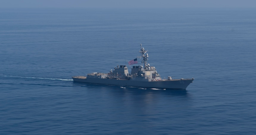 USS Roosevelt (DDG 80) conducts a photo exercise with the Santa Maria-class frigate SPS Santa Maria (F81),
