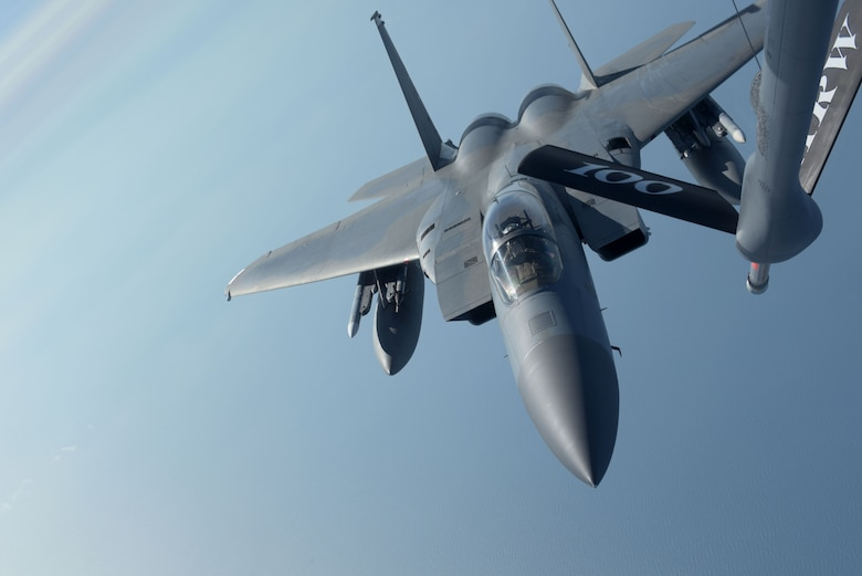 F-15 prepares for in-flight refueling