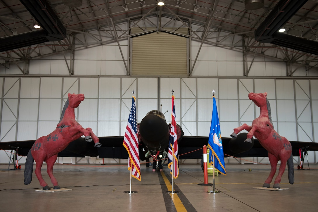A U-2 Lockheed aircraft stands on display during the 99th Expeditionary Reconnaissance Squadron change of command ceremony, at RAF Fairford, England, June 24, 2020. The change of command ceremony is a military tradition that represents a formal transfer of a unit's authority and responsibility from one commander to another. (U.S. Air Force photo by Airman 1st Class Jennifer Zima)