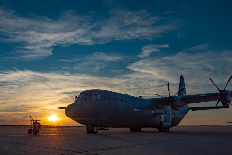 A C-130J Super Hercules sits on the flightline at Dyess Air Force Base, Texas, June 3, 2020. The new 4/12 deployment cycle allows the 39th and 40th Airlift Squadrons more time to train in alignment with the 2018 National Defense Strategy. (U.S. Air Force photo by Airman 1st Class Colin Hollowell)
