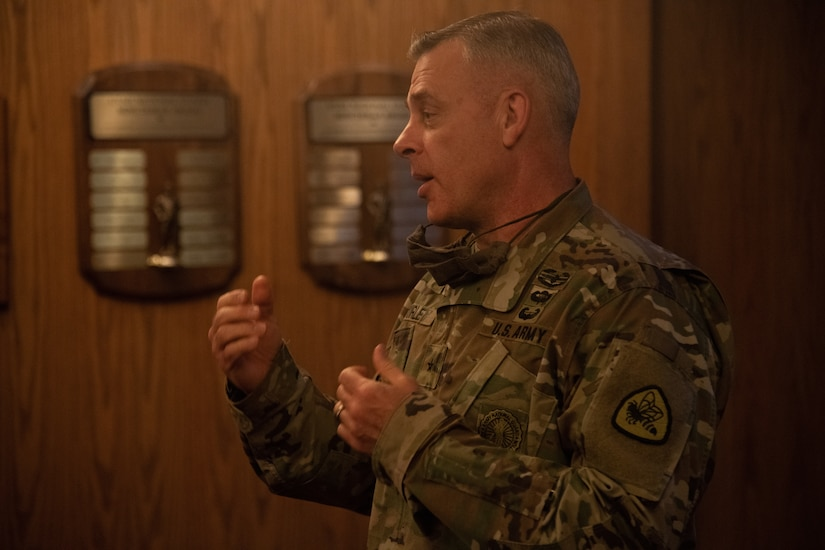 Lt. Col. Woodrow Miner, commander, 204th Maneuver Enhancement Brigade, is promoted to the rank of colonel during a ceremony at Utah National Guard headquarters in Draper, Utah,  June 17, 2020, with a date of rank May 21, 2020.